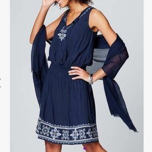 J. Jill Everyday Blum Embroidered Dress Boho XLP